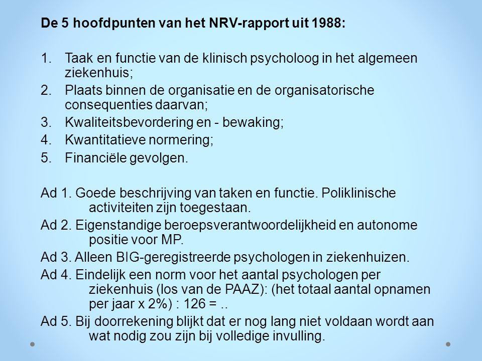 De 5 hoofdpunten van het NRV-rapport uit 1988: 1.Taak en functie van de klinisch psycholoog in het algemeen ziekenhuis; 2.Plaats binnen de organisatie