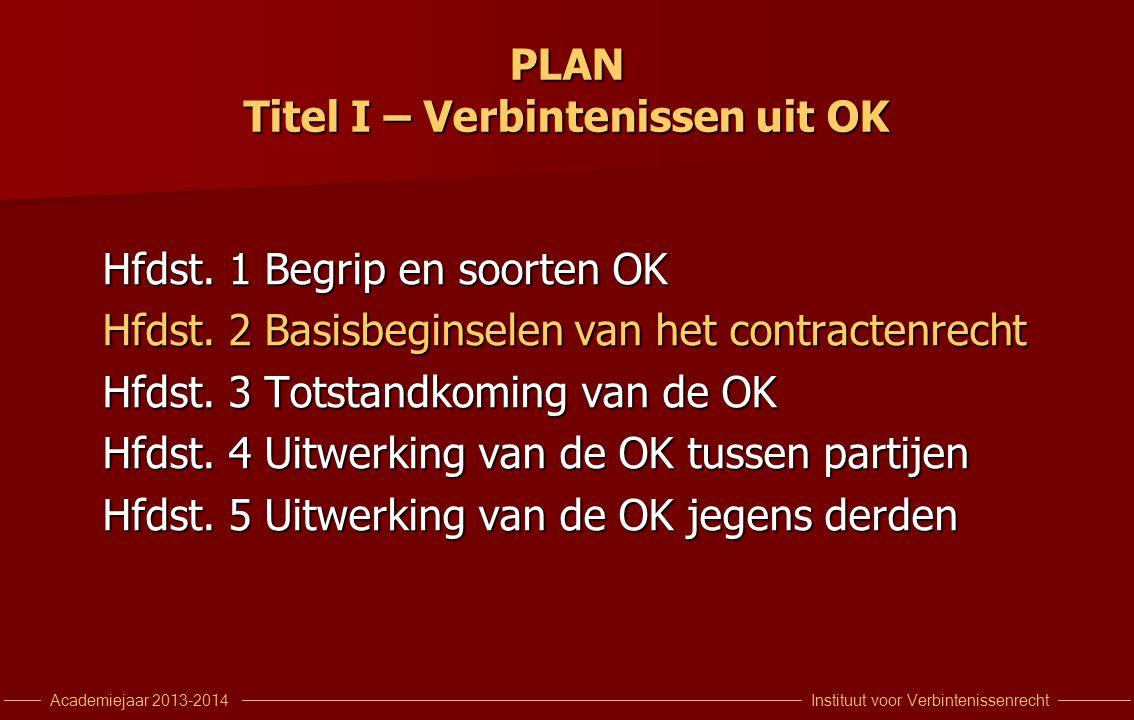 Instituut voor VerbintenissenrechtAcademiejaar 2013-2014 PLAN Titel I – Verbintenissen uit OK Hfdst.