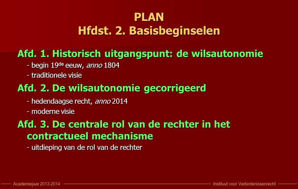 Instituut voor VerbintenissenrechtAcademiejaar 2013-2014 PLAN Hfdst.