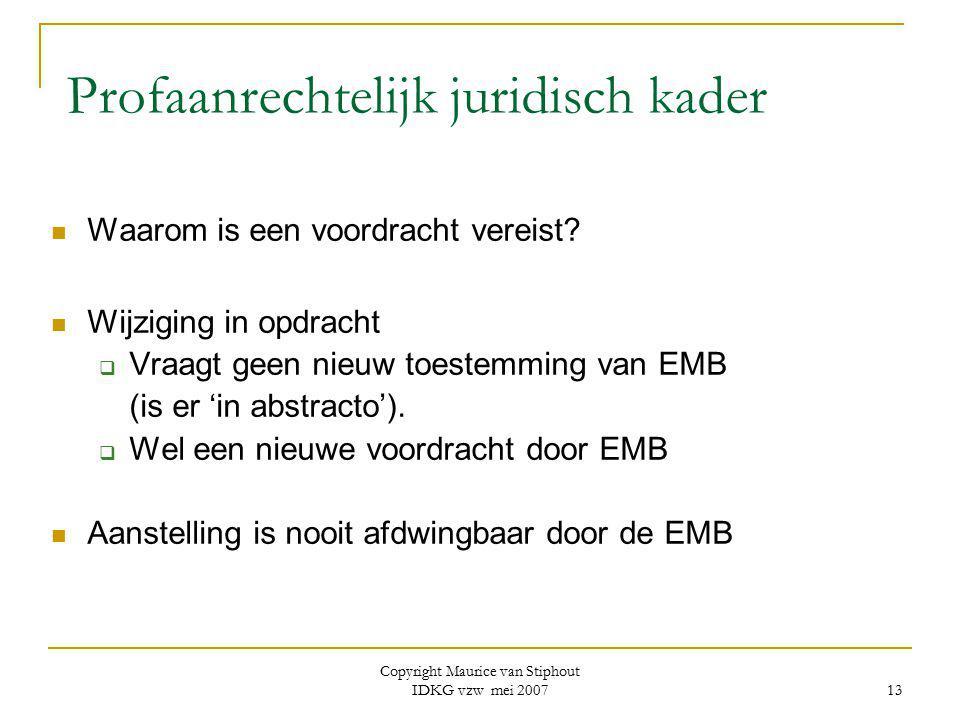Copyright Maurice van Stiphout IDKG vzw mei 2007 13 Profaanrechtelijk juridisch kader Waarom is een voordracht vereist? Wijziging in opdracht  Vraagt