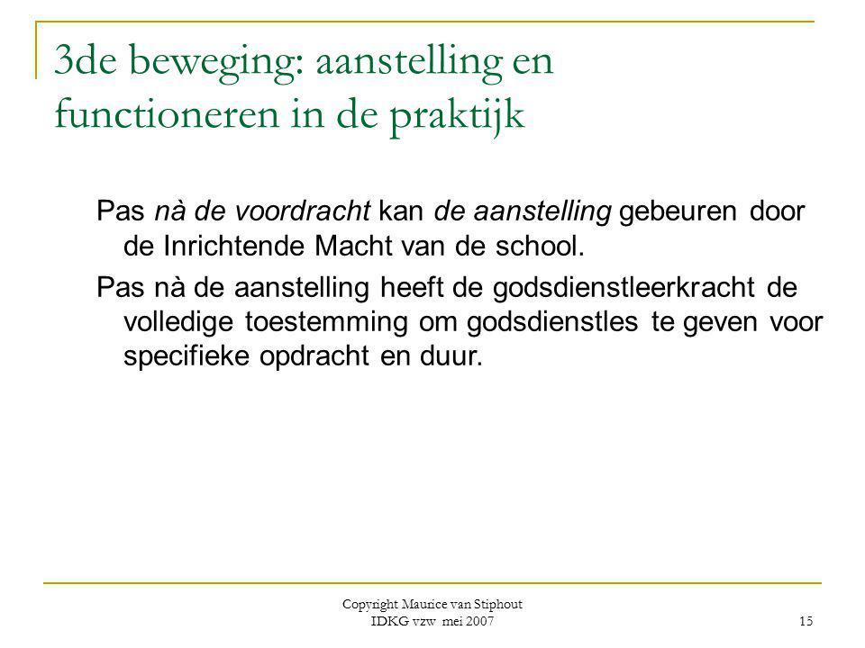 Copyright Maurice van Stiphout IDKG vzw mei 2007 15 3de beweging: aanstelling en functioneren in de praktijk Pas nà de voordracht kan de aanstelling g