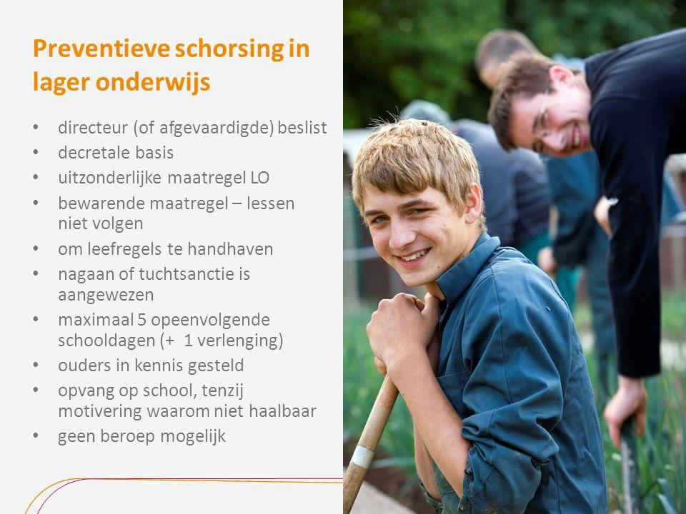 Preventieve schorsing in lager onderwijs directeur (of afgevaardigde) beslist decretale basis uitzonderlijke maatregel LO bewarende maatregel – lessen