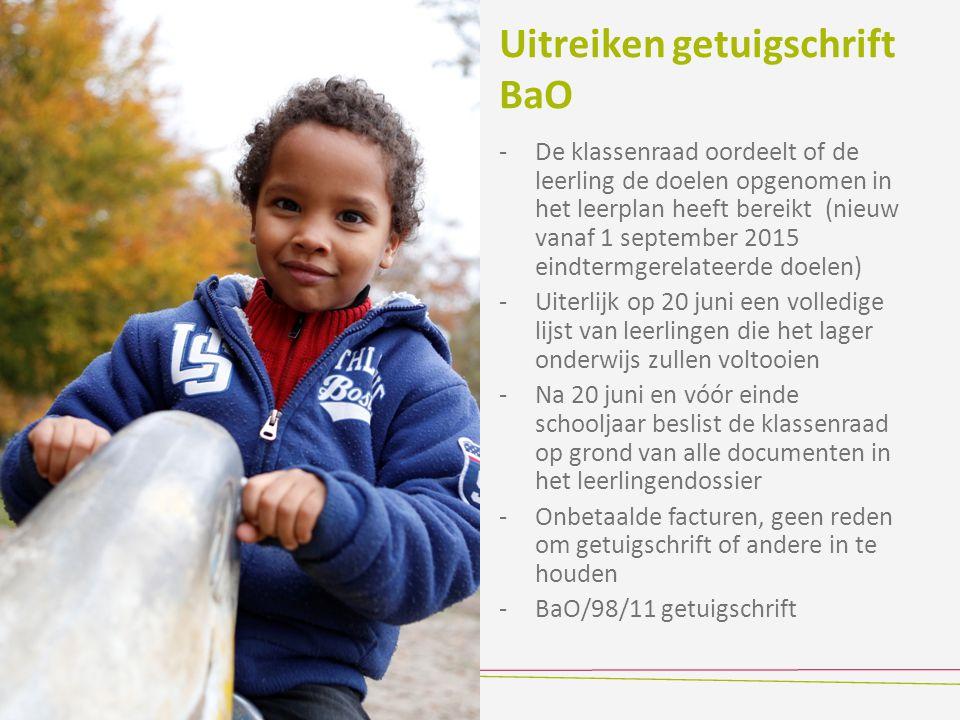 Uitreiken getuigschrift BaO -De klassenraad oordeelt of de leerling de doelen opgenomen in het leerplan heeft bereikt (nieuw vanaf 1 september 2015 ei
