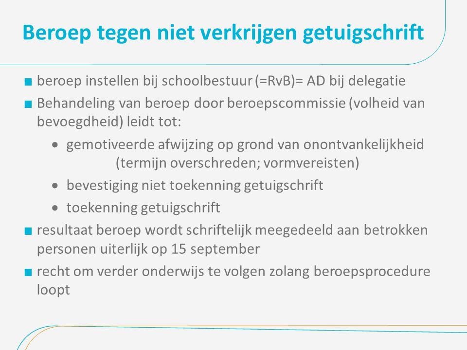 Beroep tegen niet verkrijgen getuigschrift  beroep instellen bij schoolbestuur (=RvB)= AD bij delegatie  Behandeling van beroep door beroepscommissi