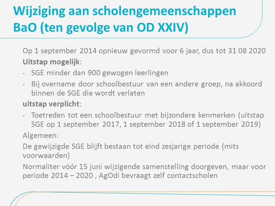 Wijziging aan scholengemeenschappen BaO (ten gevolge van OD XXIV) Op 1 september 2014 opnieuw gevormd voor 6 jaar, dus tot 31 08 2020 Uitstap mogelijk