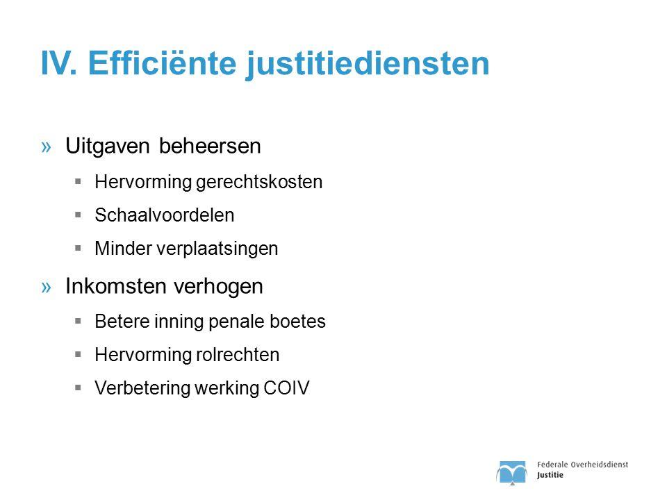 IV. Efficiënte justitiediensten »Uitgaven beheersen  Hervorming gerechtskosten  Schaalvoordelen  Minder verplaatsingen »Inkomsten verhogen  Betere
