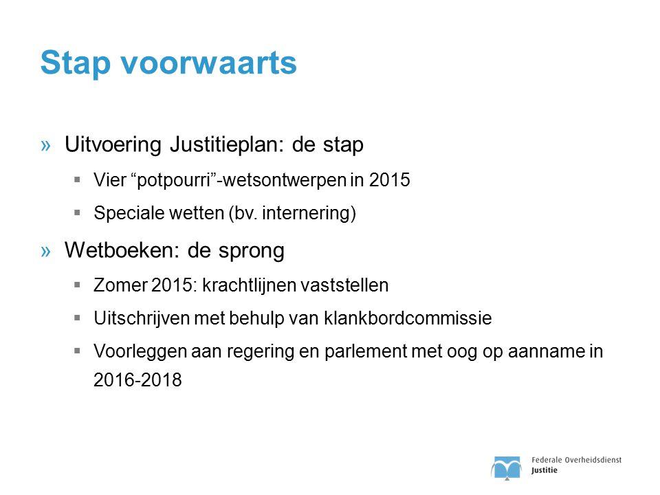"""Stap voorwaarts »Uitvoering Justitieplan: de stap  Vier """"potpourri""""-wetsontwerpen in 2015  Speciale wetten (bv. internering) »Wetboeken: de sprong """