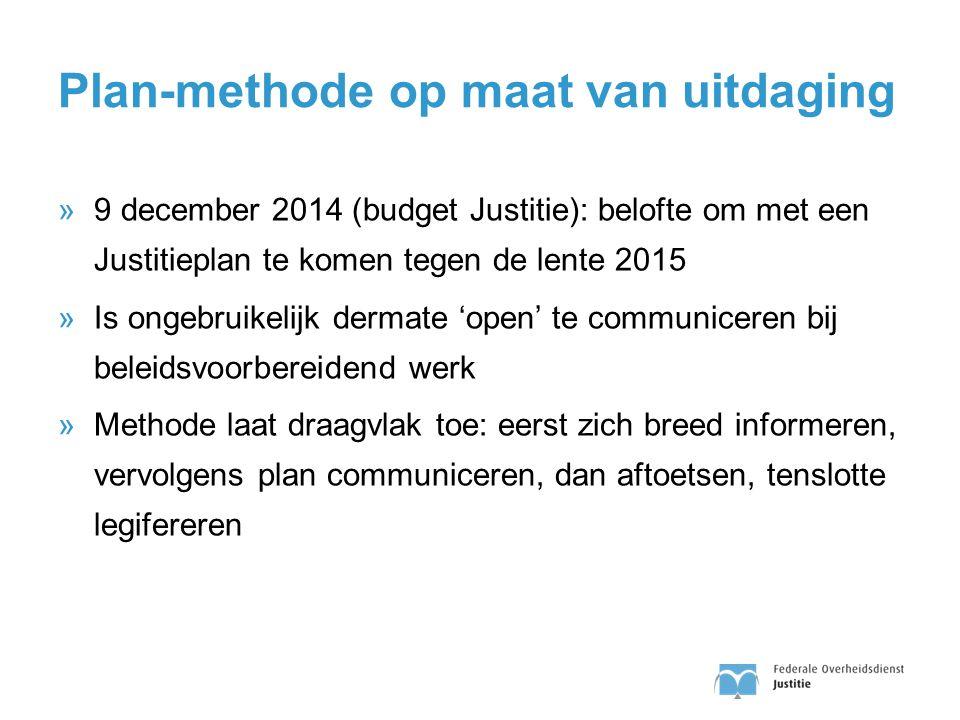 Plan-methode op maat van uitdaging »9 december 2014 (budget Justitie): belofte om met een Justitieplan te komen tegen de lente 2015 »Is ongebruikelijk