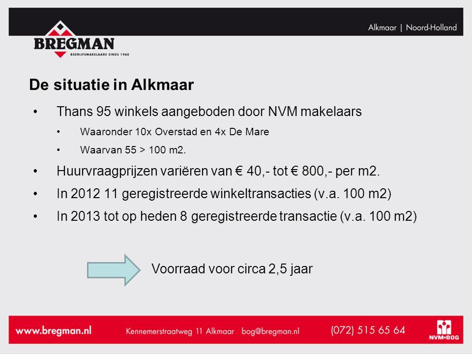 De situatie in Alkmaar Thans 95 winkels aangeboden door NVM makelaars Waaronder 10x Overstad en 4x De Mare Waarvan 55 > 100 m2.