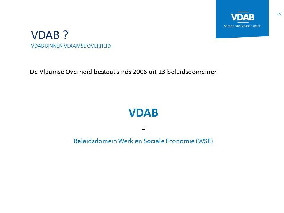 VDAB ? VDAB BINNEN VLAAMSE OVERHEID De Vlaamse Overheid bestaat sinds 2006 uit 13 beleidsdomeinen VDAB = Beleidsdomein Werk en Sociale Economie (WSE)