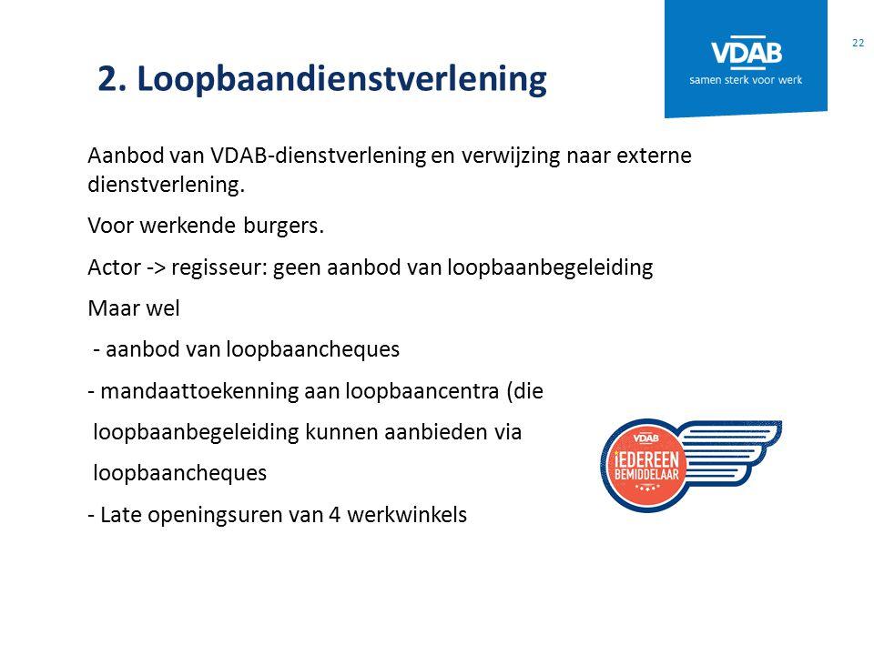 2. Loopbaandienstverlening Aanbod van VDAB-dienstverlening en verwijzing naar externe dienstverlening. Voor werkende burgers. Actor -> regisseur: geen