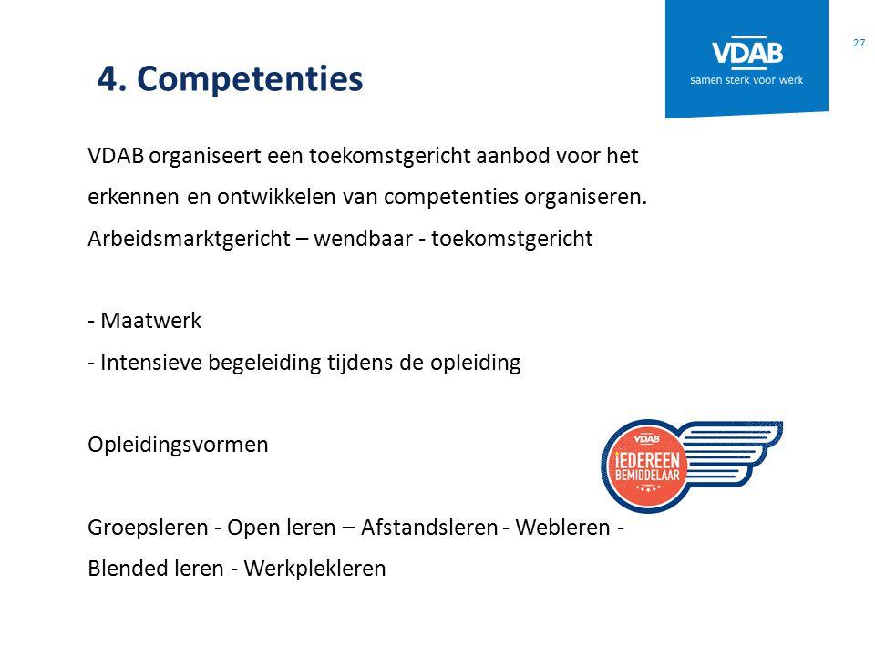 4. Competenties VDAB organiseert een toekomstgericht aanbod voor het erkennen en ontwikkelen van competenties organiseren. Arbeidsmarktgericht – wendb