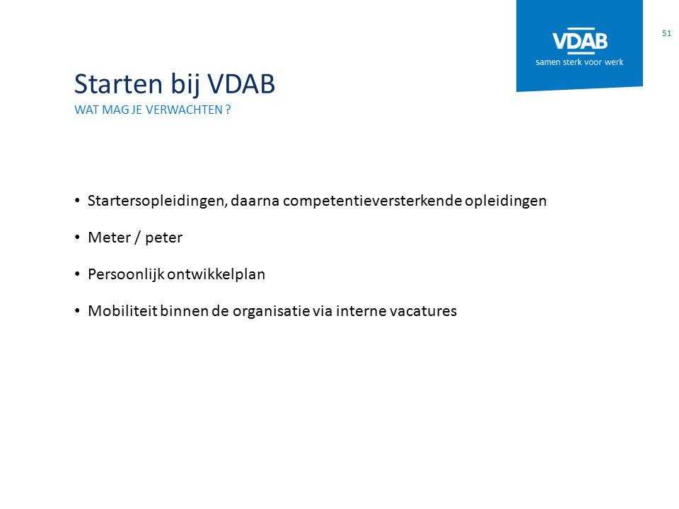 Starten bij VDAB WAT MAG JE VERWACHTEN ? Startersopleidingen, daarna competentieversterkende opleidingen Meter / peter Persoonlijk ontwikkelplan Mobil