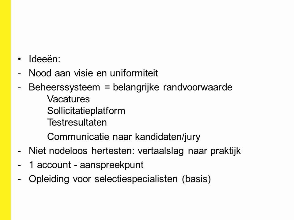 Ideeën: -Nood aan visie en uniformiteit -Beheerssysteem = belangrijke randvoorwaarde Vacatures Sollicitatieplatform Testresultaten Communicatie naar k