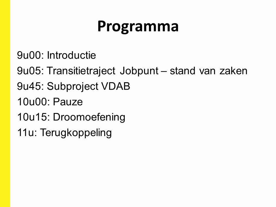 Programma 9u00: Introductie 9u05: Transitietraject Jobpunt – stand van zaken 9u45: Subproject VDAB 10u00: Pauze 10u15: Droomoefening 11u: Terugkoppeli