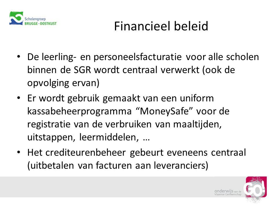 Financieel beleid De leerling- en personeelsfacturatie voor alle scholen binnen de SGR wordt centraal verwerkt (ook de opvolging ervan) Er wordt gebru