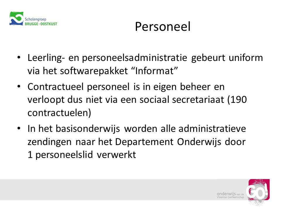 """Personeel Leerling- en personeelsadministratie gebeurt uniform via het softwarepakket """"Informat"""" Contractueel personeel is in eigen beheer en verloopt"""
