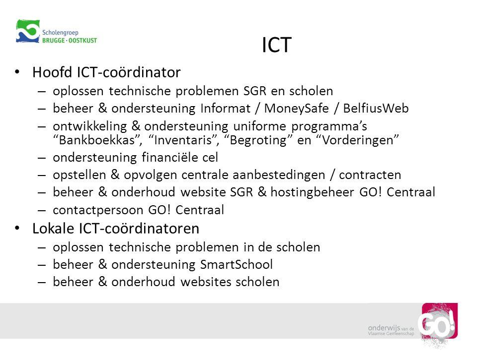 ICT Hoofd ICT-coördinator – oplossen technische problemen SGR en scholen – beheer & ondersteuning Informat / MoneySafe / BelfiusWeb – ontwikkeling & o