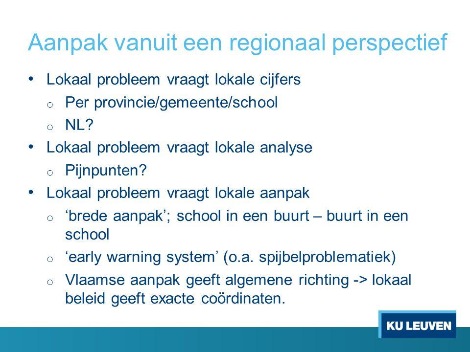 Aanpak vanuit een regionaal perspectief Lokaal probleem vraagt lokale cijfers o Per provincie/gemeente/school o NL? Lokaal probleem vraagt lokale anal