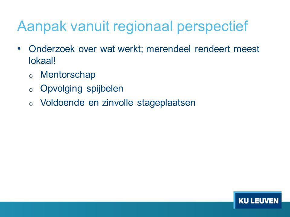 Aanpak vanuit regionaal perspectief Onderzoek over wat werkt; merendeel rendeert meest lokaal! o Mentorschap o Opvolging spijbelen o Voldoende en zinv