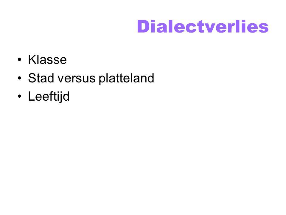 Dialectverlies Status versus solidariteit Diglossie ( tweetaligheid ) Functieverlies Streekdialecten versus stadsdialecten Invloed standaardtaal Regionaal gekleurde standaardtaal