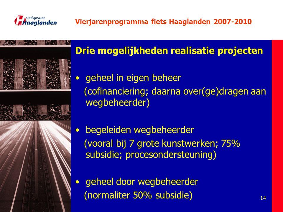14 Vierjarenprogramma fiets Haaglanden 2007-2010 Drie mogelijkheden realisatie projecten geheel in eigen beheer (cofinanciering; daarna over(ge)dragen