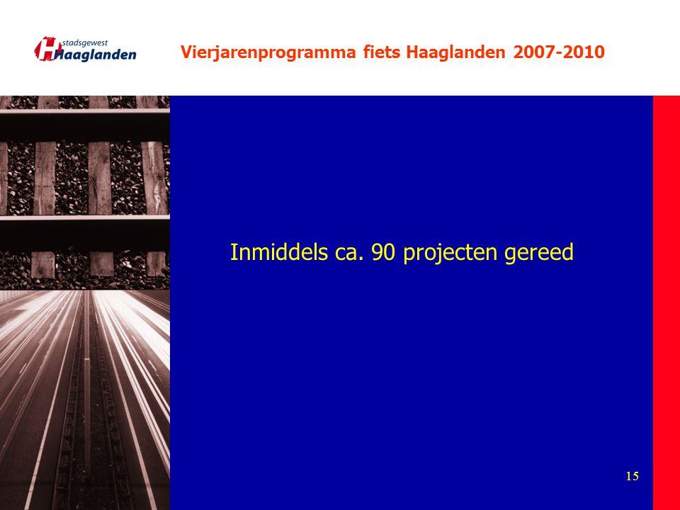 15 Vierjarenprogramma fiets Haaglanden 2007-2010 Inmiddels ca. 90 projecten gereed