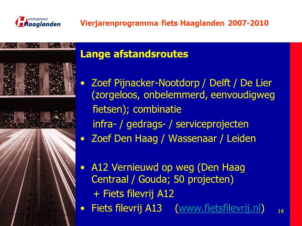 16 Vierjarenprogramma fiets Haaglanden 2007-2010 Lange afstandsroutes Zoef Pijnacker-Nootdorp / Delft / De Lier (zorgeloos, onbelemmerd, eenvoudigweg