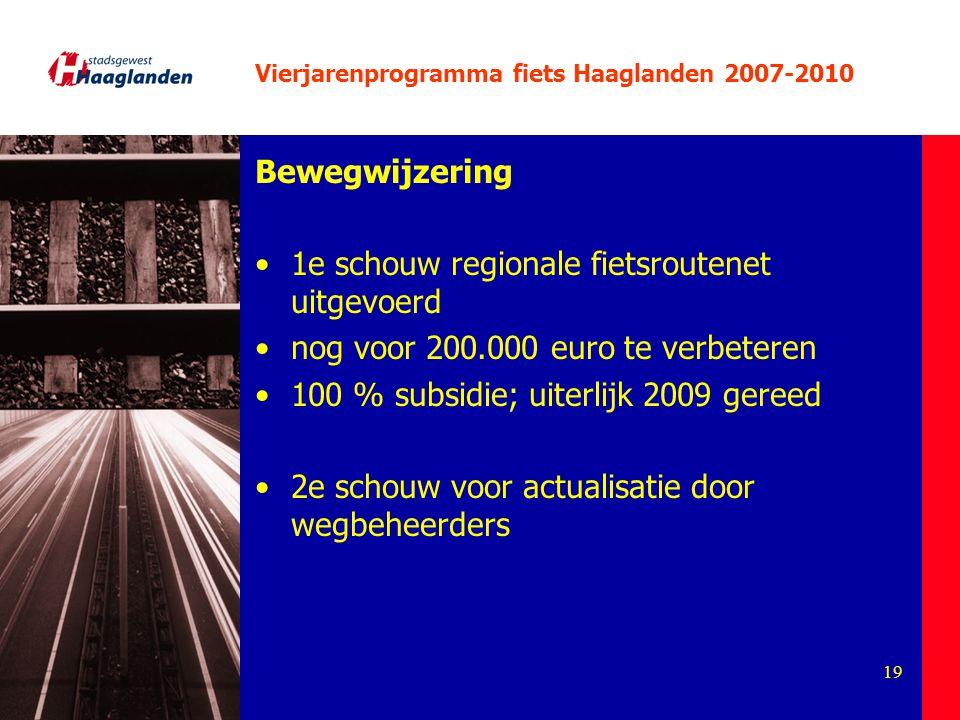 19 Vierjarenprogramma fiets Haaglanden 2007-2010 Bewegwijzering 1e schouw regionale fietsroutenet uitgevoerd nog voor 200.000 euro te verbeteren 100 %
