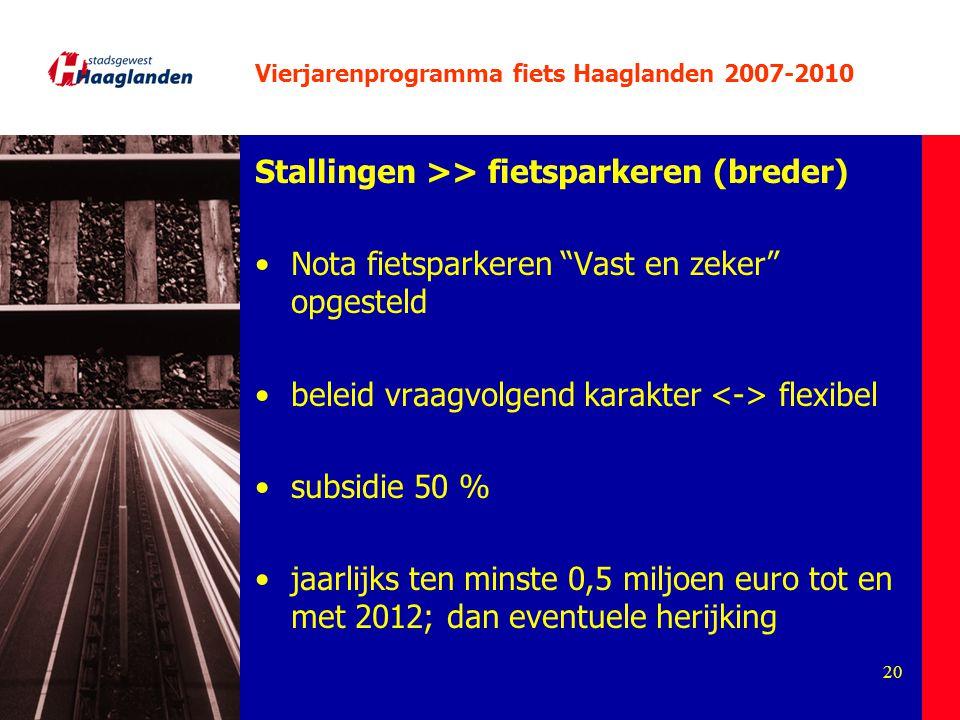 """20 Vierjarenprogramma fiets Haaglanden 2007-2010 Stallingen >> fietsparkeren (breder) Nota fietsparkeren """"Vast en zeker"""" opgesteld beleid vraagvolgend"""