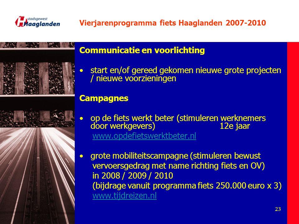 23 Vierjarenprogramma fiets Haaglanden 2007-2010 Communicatie en voorlichting start en/of gereed gekomen nieuwe grote projecten / nieuwe voorzieningen