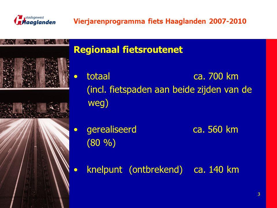 3 Vierjarenprogramma fiets Haaglanden 2007-2010 Regionaal fietsroutenet totaal ca. 700 km (incl. fietspaden aan beide zijden van de weg) gerealiseerd