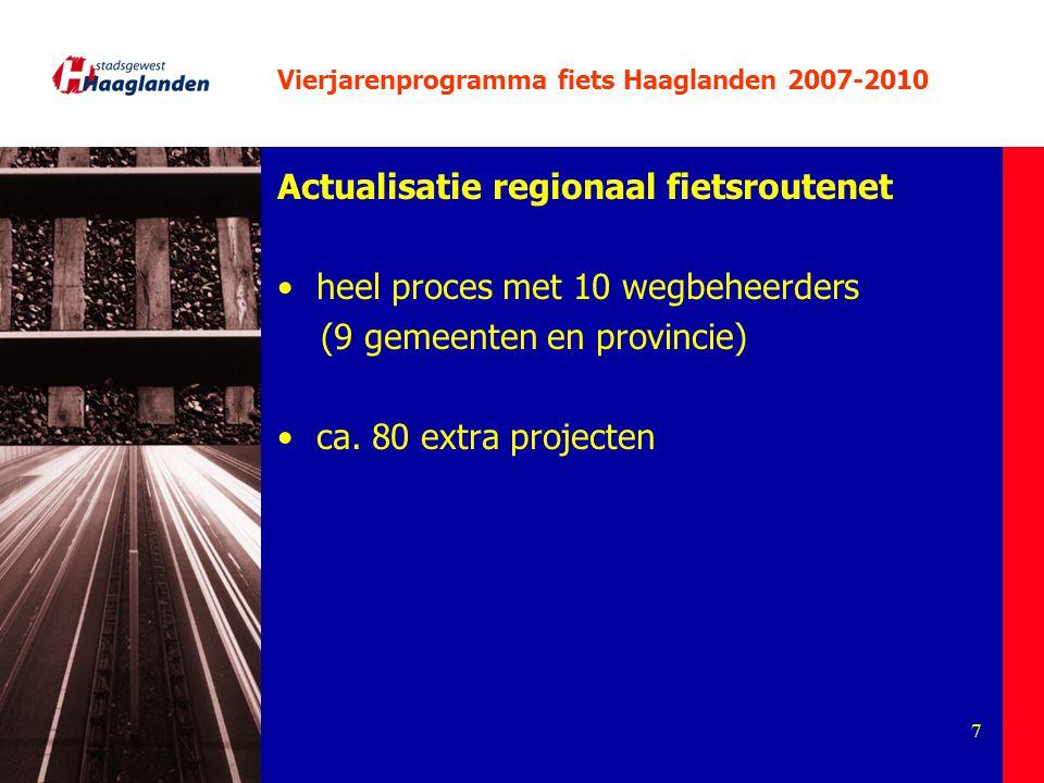 7 Vierjarenprogramma fiets Haaglanden 2007-2010 Actualisatie regionaal fietsroutenet heel proces met 10 wegbeheerders (9 gemeenten en provincie) ca. 8