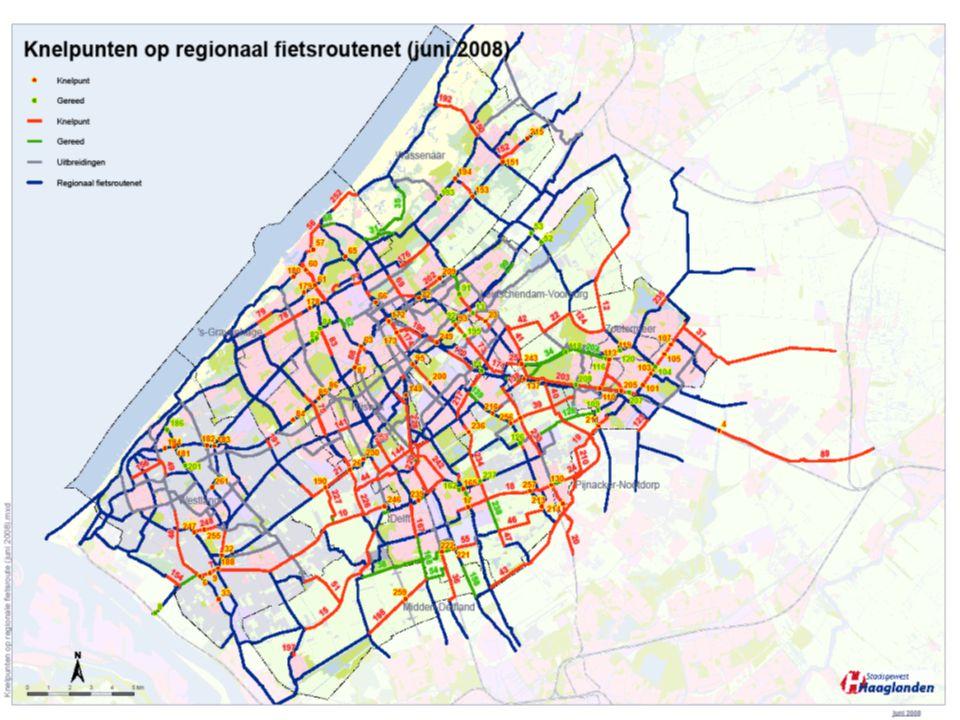 19 Vierjarenprogramma fiets Haaglanden 2007-2010 Bewegwijzering 1e schouw regionale fietsroutenet uitgevoerd nog voor 200.000 euro te verbeteren 100 % subsidie; uiterlijk 2009 gereed 2e schouw voor actualisatie door wegbeheerders