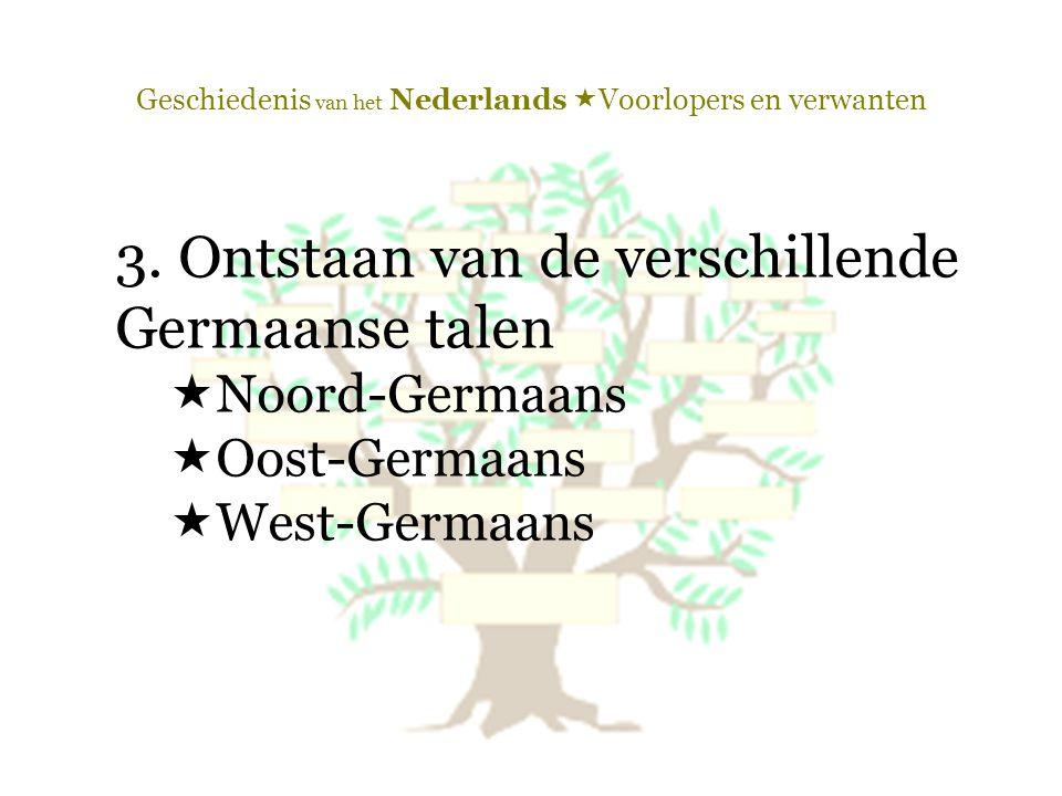 Geschiedenis van het Nederlands  Voorlopers en verwanten 3. Ontstaan van de verschillende Germaanse talen  Noord-Germaans  Oost-Germaans  West-Ger