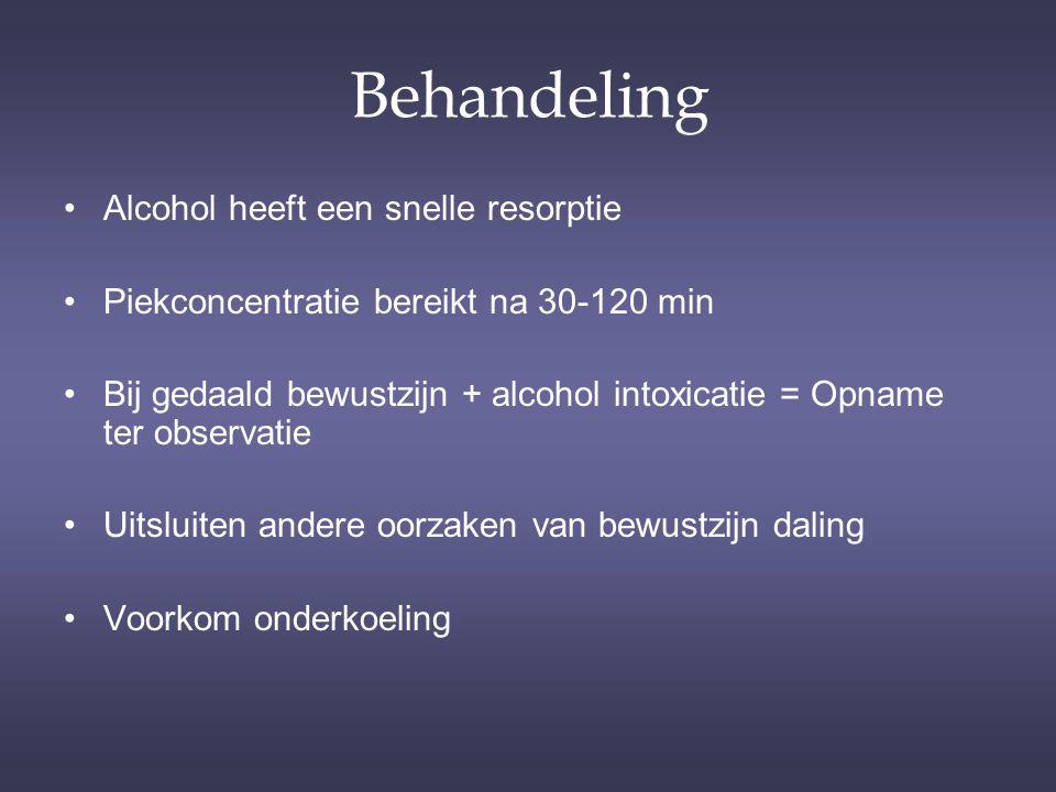 Behandeling Alcohol heeft een snelle resorptie Piekconcentratie bereikt na 30-120 min Bij gedaald bewustzijn + alcohol intoxicatie = Opname ter observ