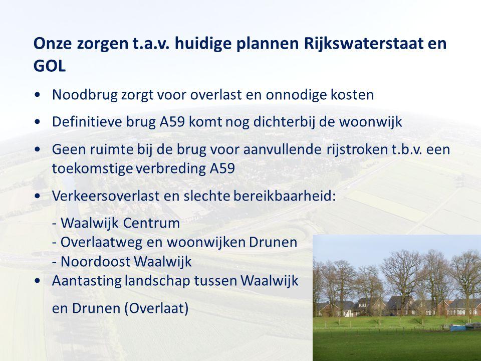 Onze zorgen t.a.v. huidige plannen Rijkswaterstaat en GOL Noodbrug zorgt voor overlast en onnodige kosten Definitieve brug A59 komt nog dichterbij de