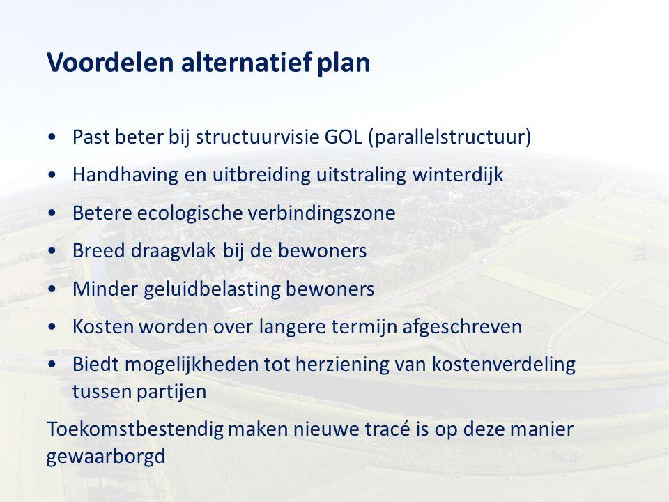 Voordelen alternatief plan Past beter bij structuurvisie GOL (parallelstructuur) Handhaving en uitbreiding uitstraling winterdijk Betere ecologische v