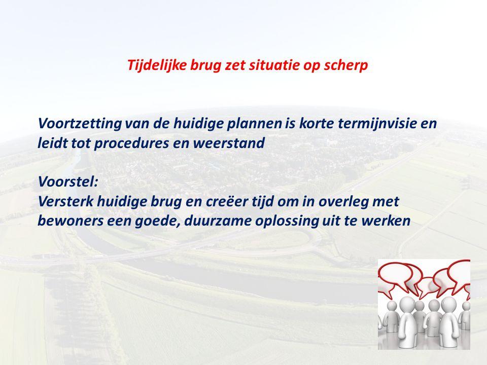 Tijdelijke brug zet situatie op scherp Voortzetting van de huidige plannen is korte termijnvisie en leidt tot procedures en weerstand Voorstel: Verste