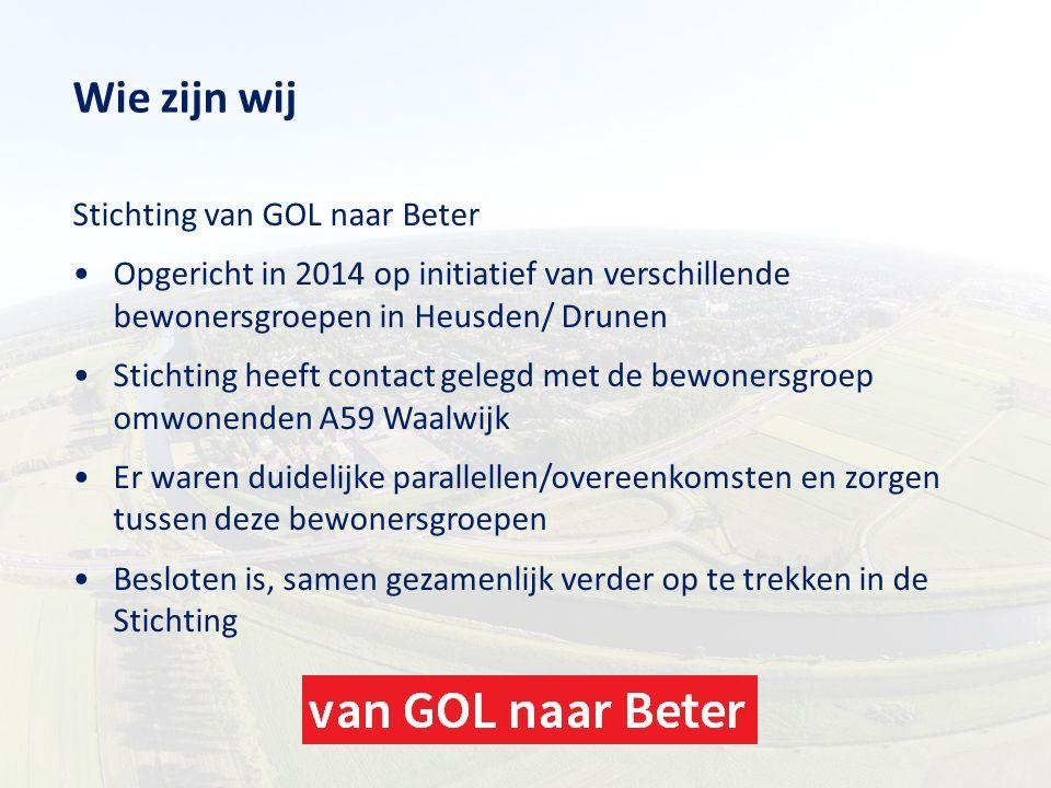 Wie zijn wij Stichting van GOL naar Beter Opgericht in 2014 op initiatief van verschillende bewonersgroepen in Heusden/ Drunen Stichting heeft contact