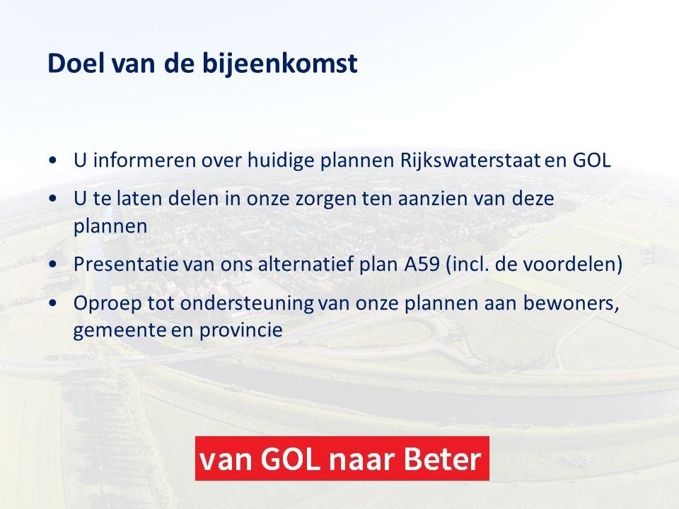 Doel van de bijeenkomst U informeren over huidige plannen Rijkswaterstaat en GOL U te laten delen in onze zorgen ten aanzien van deze plannen Presenta