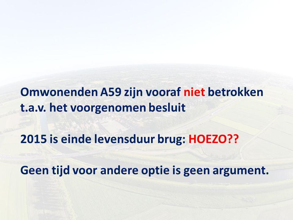 Omwonenden A59 zijn vooraf niet betrokken t.a.v. het voorgenomen besluit 2015 is einde levensduur brug: HOEZO?? Geen tijd voor andere optie is geen ar
