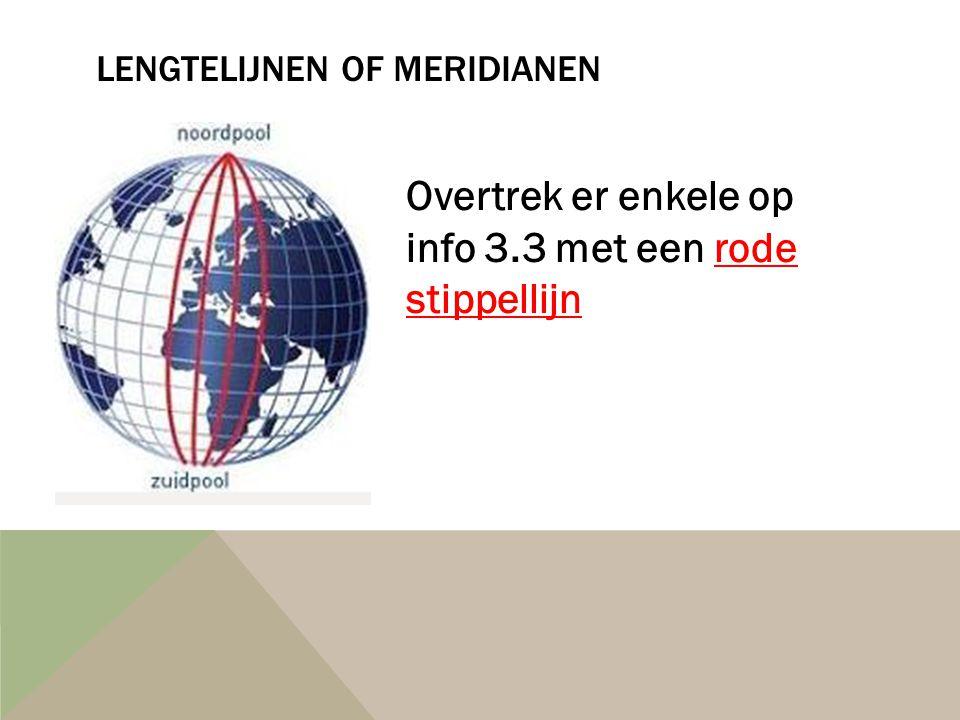 LENGTELIJNEN OF MERIDIANEN Overtrek er enkele op info 3.3 met een rode stippellijn