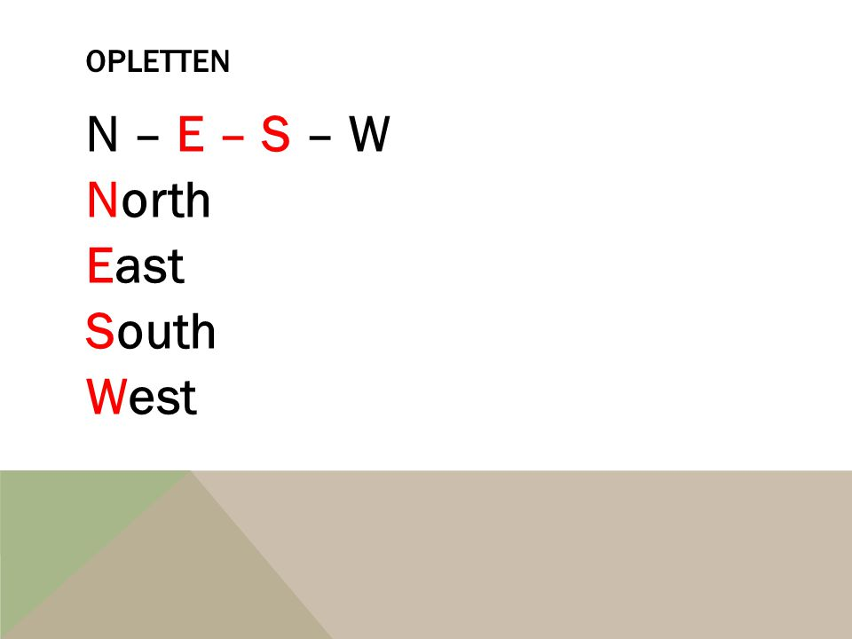OPLETTEN N – E – S – W North East South West