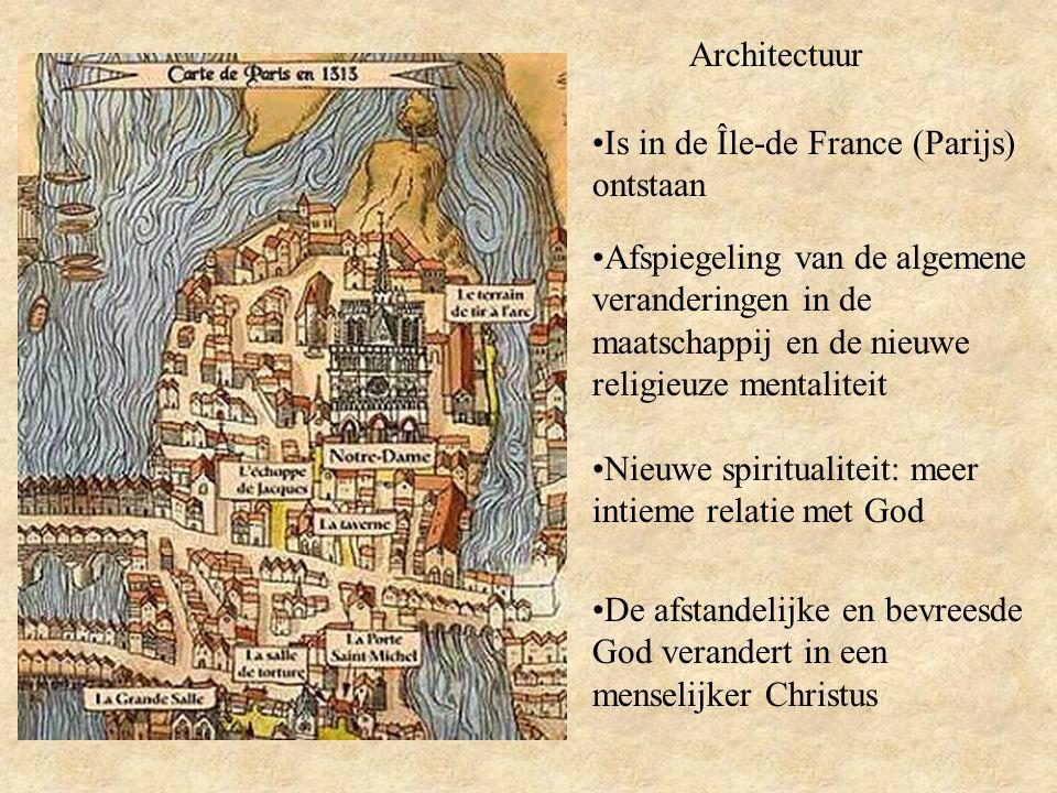 Architectuur Is in de Île-de France (Parijs) ontstaan Afspiegeling van de algemene veranderingen in de maatschappij en de nieuwe religieuze mentaliteit Nieuwe spiritualiteit: meer intieme relatie met God De afstandelijke en bevreesde God verandert in een menselijker Christus