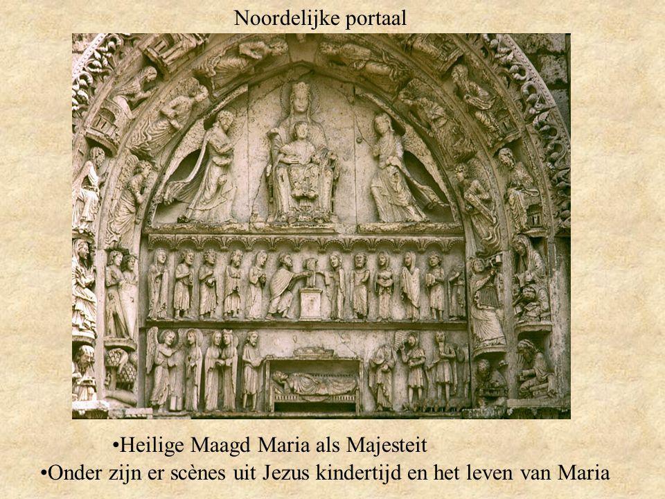 Noordelijke portaal Heilige Maagd Maria als Majesteit Onder zijn er scènes uit Jezus kindertijd en het leven van Maria