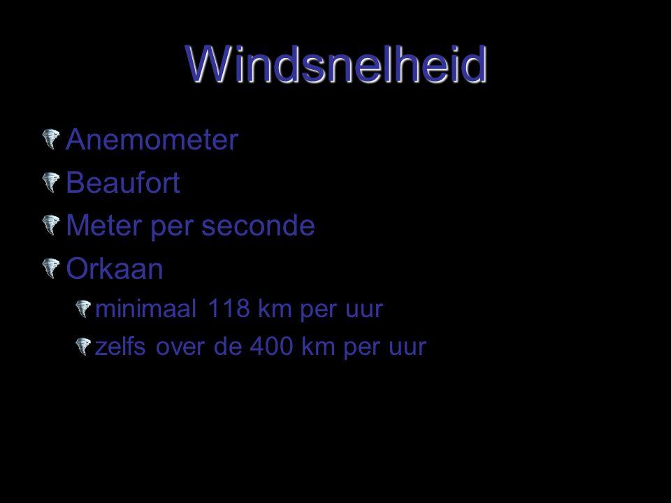 Windsnelheid Anemometer Beaufort Meter per seconde Orkaan minimaal 118 km per uur zelfs over de 400 km per uur