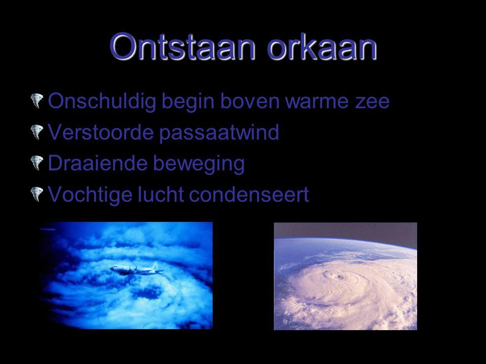 Ontstaan orkaan Onschuldig begin boven warme zee Verstoorde passaatwind Draaiende beweging Vochtige lucht condenseert