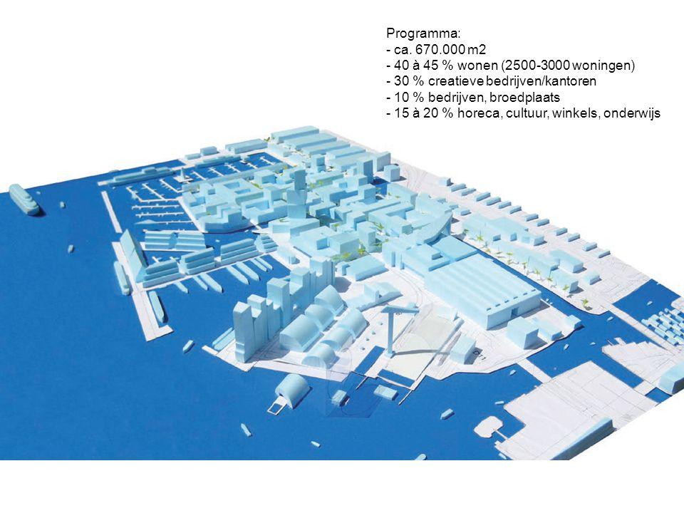 Programma: - ca. 670.000 m2 - 40 à 45 % wonen (2500-3000 woningen) - 30 % creatieve bedrijven/kantoren - 10 % bedrijven, broedplaats - 15 à 20 % horec