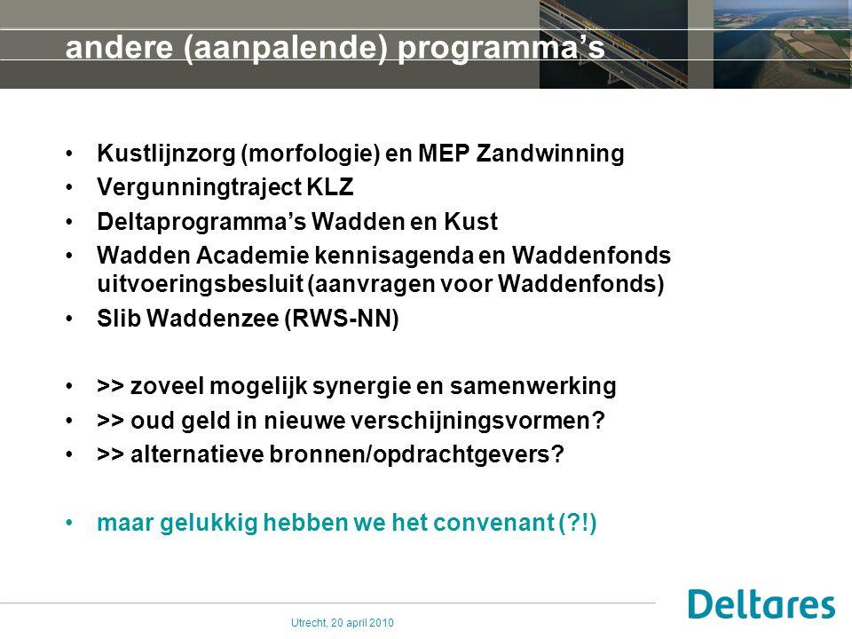 Utrecht, 20 april 2010 eerste evaluatie van programma lange lijnen van het programma helder (MLTP en WP's, terugkoppeling) voortgaande discussie met aanpalende programma's (dat moet wel minder worden) duinen: KLZ eco samen met OBN (MinLNV) aandacht voor student-onderzoekingen en stages Bio-geomorfologie: Maurits Kruit (2009) TUD Kg's: Ruben de Vries (2009) Van Hall Vergelijking zeereep: Stijn van Puijvelde (2009-2010) RUU Doorvertaling in ecologie: Mark Tordoir (2010) Van Hall Waddensysteem vgl Chandeleur Islands: Kees Pruis (2010) TUD Kustfundament: Tommer Vermaas (2010) RUU en anderen (KLZ)